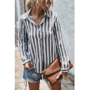 Formal Womens Stripe Printed Long Sleeve Spread Collar Button up Loose Fit Shirt Top