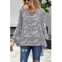Stylish Leopard Printed Blouson Sleeve Hollow out V-neck High Low Hem Loose Fit Blouse Top