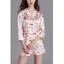 Leisure Ladies All over Lip Print Button Front Chest Pocket Lapel Collar 3/4 Sleeve Loose Fit Shirt & Shorts Pajama Set in White