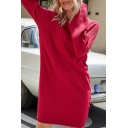 Chic Solid Color Round Neck Long Sleeve Cable Knit Oversized Short Sweater Dress for Women