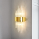 Fluted Glass Linear Wall Mounted Light Simplicity 2-Head Gold Surface Wall Sconce