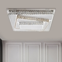 Chrome Rectangle Flush Ceiling Light Contemporary LED Clear Crystal Lighting Fixture for Living Room