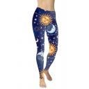 Cool Womens Leggings Crescent Moon Sun Star Printed Mid Waist Ankle Length Slim Fit Leggings