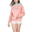 Cool Womens Hoodie Letter Treat People with Kindness Pattern Contrasted Hood Cuffed Drawstring Long Sleeve Relaxed Fitted Hoodie