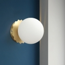 1 Light Gold Wall Mount Lamp Simplicity White Glass Wall Lighting Ideas with Scalloped Backplate