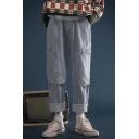 Men's New Fashion Simple Plain Zipped Pocket Side Rolled Cuffs Straight Wide Leg Hip Pop Jeans