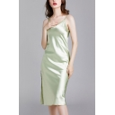 Elegant Womens Split Side Backless Scoop Neck Spaghetti Straps Sleeveless Silk Midi Sheath Cami Nightdress