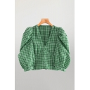 Trendy Checkered Printed Blouson Sleeve V-neck Button Up Regular Fit Crop Blouse Top in Green