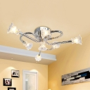 Crystal Flower Semi Flush Light Simplicity LED Ceiling Lighting in Stainless-Steel in Warm/White Light with Twisted Arm