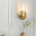 Cylinder Wall Lamp Modernism Clear Crystal 1 Light Brass Finish Wall Mounted Light for Bedside