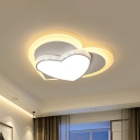 Heart Shade Flush Mount Macaron Acrylic White/Pink/Yellow Finish LED Close to Ceiling Light for Bedroom