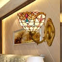 Bowl Shaped Wall Lamp Mediterranean Cut Glass 1-Light Gold Tulip Patterned Wall Light Fixture with Curvy Arm