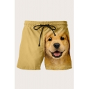 Basic Mens 3D Shorts Dog Head Printed Drawstring Waist Regular Fitted Relaxed Shorts