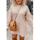 Novelty Solid Color Round Neck Long Sleeve Oversized Mini Sweatshirt Dress for Women
