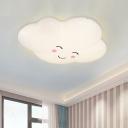 White Smiling Cloud Ceiling Flush Cartoon Acrylic Integrated LED Flush Mount Light Fixture
