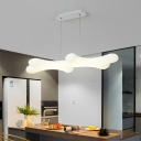 Twig Hanging Island Light Simple Novelty Plastic White LED Ceiling Pendant over Table