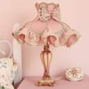 Goffered Frill Fabric Night Light Cartoon Single-Bulb Pink Table Lamp with Resin Vase Base for Girl's Room