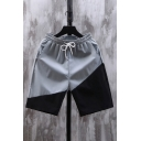 Chic Mens Shorts Colorblock Pocket Drawstring Cuffed Mid Rise Fitted Shorts