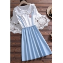 Blue Stylish Patchwork Faux Twinset Floral Lace-Trim Stringy Selvedge Gathered Waist Button Front Peter Pan Collar Short Sleeve Mini A-Line Dress for Women