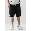 Vintage Plain Patchwork Drawstring Waist Knee Length Relaxed Fit Lounge Shorts for Men