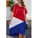 Casual Color Block Print High Low Hem Short Sleeve Crew Neck Midi T-shirt Dress for Women