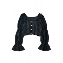 Elegant Womens Plaid Knit Pearl Button Embellished Patchwork Long Puff Sleeve Square Neck Regular Crop Blouse Top