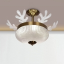 8-Light Bedroom Ceiling Lighting Nordic Gold Antler Semi Flush with Bowl Faceted Crystal Shade