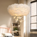 Cartoon 2 Heads Chandelier Lamp White Round Elf Hanging Light Fixture with Feather Shade