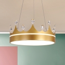 Crown Chandelier Lighting Fixture Modern Metal Pink/Blue/Gold LED Hanging Pendant Light with Crystal Accent for Bedroom