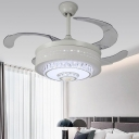 Simplicity Circle Fan Lamp Crystal Block 4 Blades LED Bedroom Semi Flush in White, 19