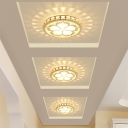 Round Flush Light Fixture Contemporary Crystal LED Corridor Ceiling Flush Mount with Flower Design in White/Gold