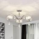 Cuboid Crystal Flush Mount Chandelier Contemporary 3 Bulbs Chrome Semi Flush Light for Dining Room
