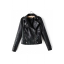 Fashion Notched Lapel Long Sleeve Plain Zipper Embellished Biker Jacket