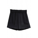 Vintage Womens Shorts Solid Color Wide Leg Drawstring Waist Loose Fitted Relaxed Shorts