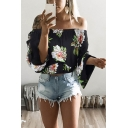 Sexy Ladies Floral Print Waisted Pleated Ruffle Trim Off the Shoulder Long Flared Cuff Sleeve Relaxed Shirt