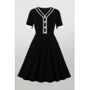 Black Simple Contrast Stitching Button Zipper Back V Neck Short Sleeve Midi Fit & Flared Dress for Womens