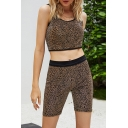 Stylish Ladies Leopard Printed Sleeveless Scoop Neck Slim Fit Crop Tank Top & Fitted Shorts Set in Brown