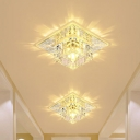 Cubic Close to Ceiling Lamp Simple Clear Crystal LED Silver Flush Mount Fixture in Warm/White/Multi Color Light