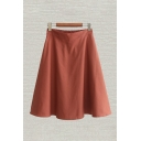 Fancy Womens Skirt Solid Color Pleated High Waist Half Elastic Midi A-Line Skirt