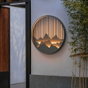 Mountain and Linear Metal Mural Lamp Oriental LED Black Round Wall Mounted Light for Outdoor