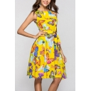 Pop All-over Butterfly Printed Bow Tie Waist Round Neck Sleeveless Short Fit&Flare Dress for Women