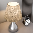Gourd Bedroom Desk Light Metal 1 Head Minimalist Night Lamp with Conical Fabric Shade in Silver