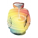 Active Color Block 3D Print Big Pocket Drawstring Hooded Long Sleeve Plus Sized Hoodie