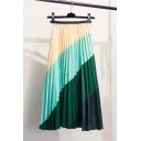 Summer New Trendy Rainbow Colorblock A-Line Long Pleated Skirt