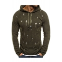 Men's New Trendy Ripped Detail Long Sleeve Basic Solid Slim Hooded Sweater