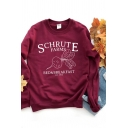 Popular Womens Letter Schrute Farm Graphic Long Sleeve Crew Neck Loose Pullover Sweatshirt