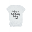 Simple Letter FEELING A TAD STABBY TODAY Knife Pattern Basic Short Sleeve White Tee