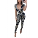Womens Jumpsuits Chic Paisley Flower Pattern Deep V Neck Ankle Length Skinny Fitted Short Sleeve Jumpsuits
