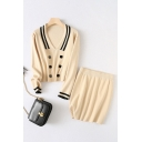 Novelty Womens Striped Trim Button Embellished Turn-down Collar Long Sleeve Loose Fit Crop Knit Pullover Sweater & Elastic Waist Mini Bodycon Skirt Set