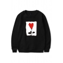Mens Pullover Sweatshirt Casual Rose Heart Printed Cuffed Long Sleeve Relaxed Fit Crew Neck Pullover Sweatshirt